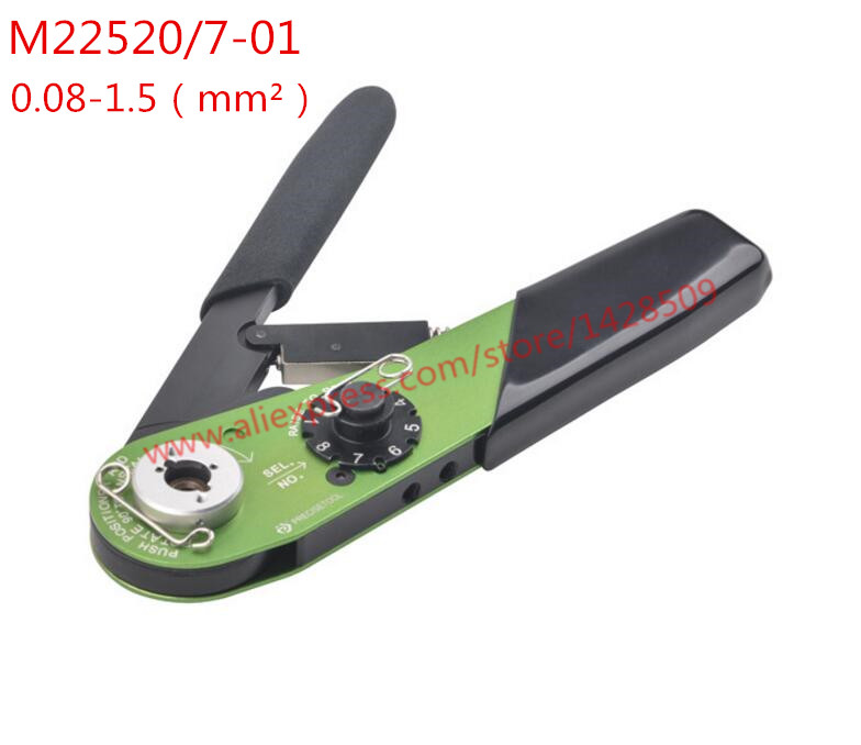 Wire Crimping Tool Terminal Lug Crimper M22520/7-01 For Wiring Harness Terminals Contacts Military Standards Size 0.08-1.5mm2 dwz new 6 50mm lx 50b wire terminal crimper tool cable lug crimping plier connector