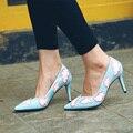 Nueva moda de gran tamaño de la marca linda del partido de la boda poco profundas en punta toe de tacón alto bombas de las mujeres dulces causales marca señora de la oficina zapatos