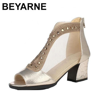 BEYARNE mesh fish head summer women sandals 2018  bestselling thick high heels genuine leather sandals fashion shoes sandal