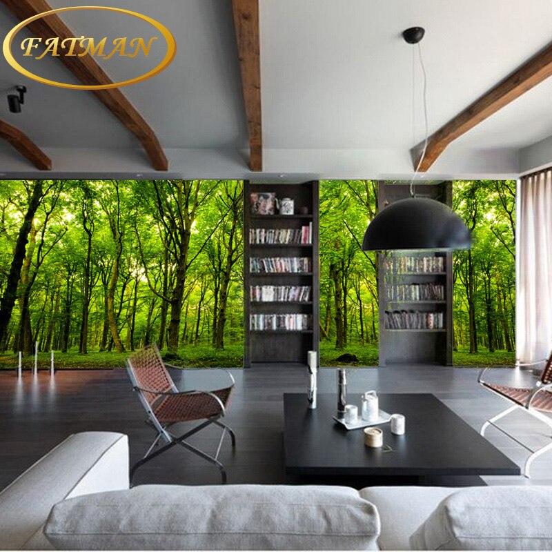 Foto Wallpaper Alam Hutan Landscape Hijau Ruang Tamu Sofa Tv Latar Belakang Dinding Mural Di Dari Perbaikan Rumah