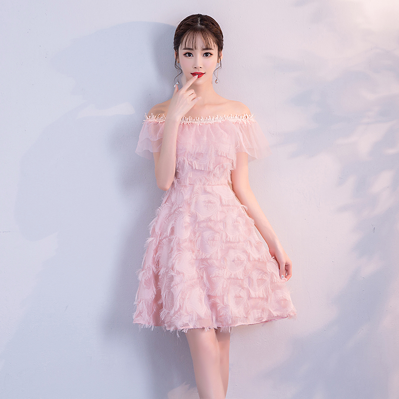 Pink Colour Tassel Mini Dress  Bridemaid Dress  Women Wedding Party Dress  Back Of Zipper