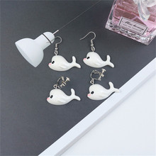Korean Cute Cartoon Solid Dolphin Simple INS Woman Girls Clips Dangle Drop Earrings Fashion Jewelry-LAF