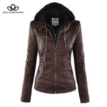49314b478ec Bella Philosophy Moto Jacket women Zipper coat Turn Down Collor Ladies Outerwear  faux leather PU female