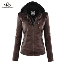 Moto Jacket Coat Faux-Leather Women Outerwear PU Turn-Down Zipper Bella Philosophy Collor