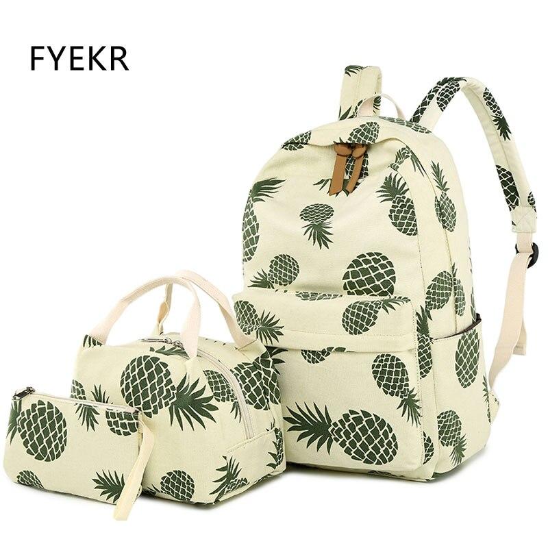 3 pièces/ensemble dame sac à dos toile mode ananas sac d'impression grande capacité ordinateur portable sac d'école pour les adolescentes sac à dos sac à dos