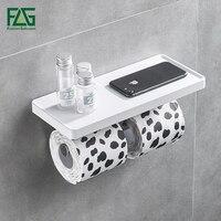 Duvara Monte Tuvalet Kağıdı Tutucu Paslanmaz Çelik Çift Rolls Kağıt Telefon Standı Duvar Tutucu Banyo Beyaz ABS Raf