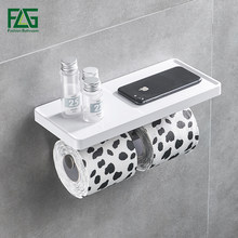 FLG Wall Mounted Toilet Paper Holder Stainless Steel Double Rolls Paper Phone Stand Wall Holder Bathroom White ABS Shelf
