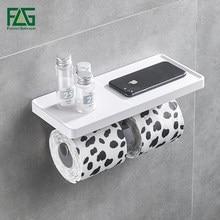 FLG Wall Mounted Suporte do Papel Higiénico de Aço Inoxidável Dupla Rolos de Papel Suporte Do Telefone Suporte De Parede Prateleira Do Banheiro ABS Branco