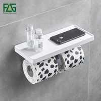 Wall Mounted Toilet Paper Holder Stainless Steel Double Rolls Paper Phone Stand Wall Holder Bathroom White ABS Shelf