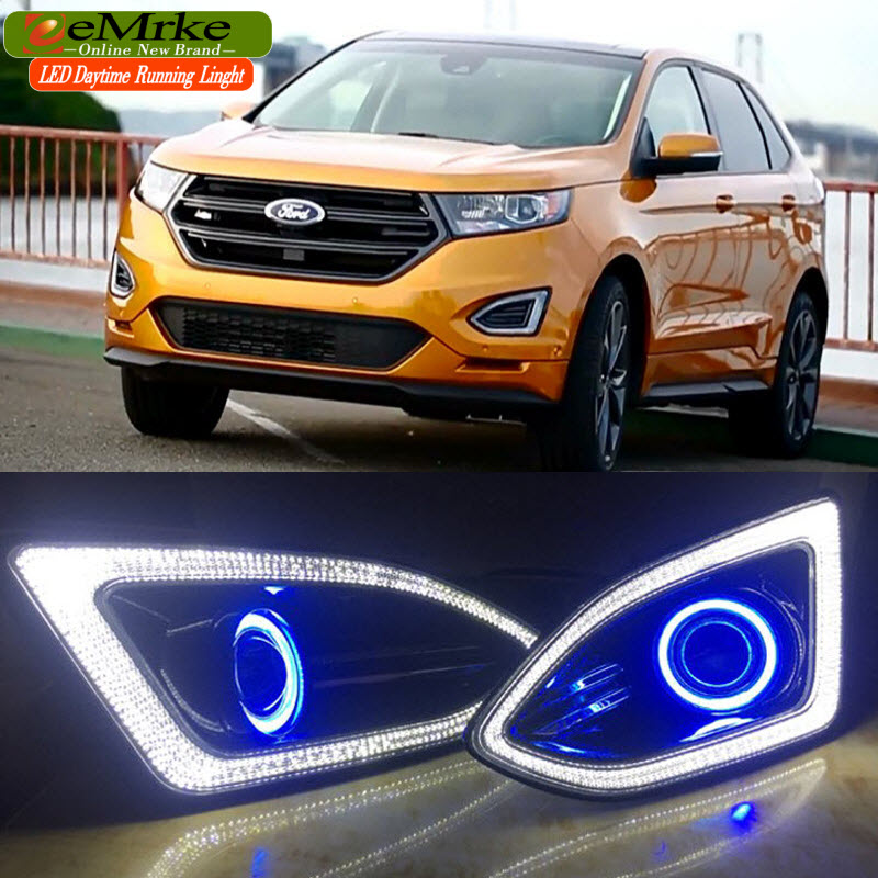 Car-Styling LED Daytime Running Lights For Ford Edge 2015 2016 Angel Eyes DRL Fog Lights Lamp H3 55W Halogen Bulbs Kits for lexus rx350 rx450h 2010 2013 car styling led angel eyes drl led fog lights car daytime running light fog lamp with bulbs set
