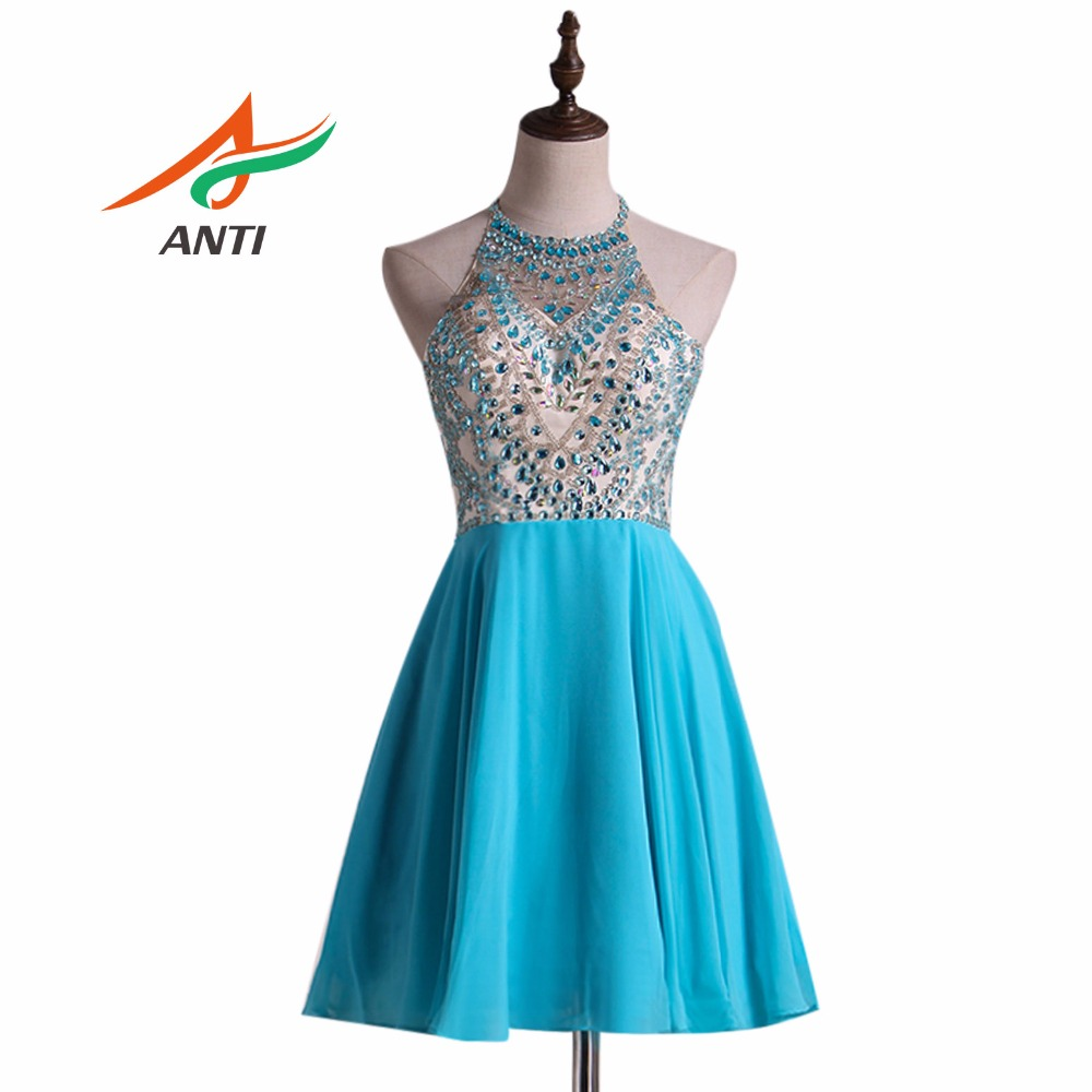 ANTI Elegance Ice Blue Robe De   Cocktail     Dresses   2018 Off Tthe Shoulder Short Vestidos De Coctel Party Gowns Lace Knee Length
