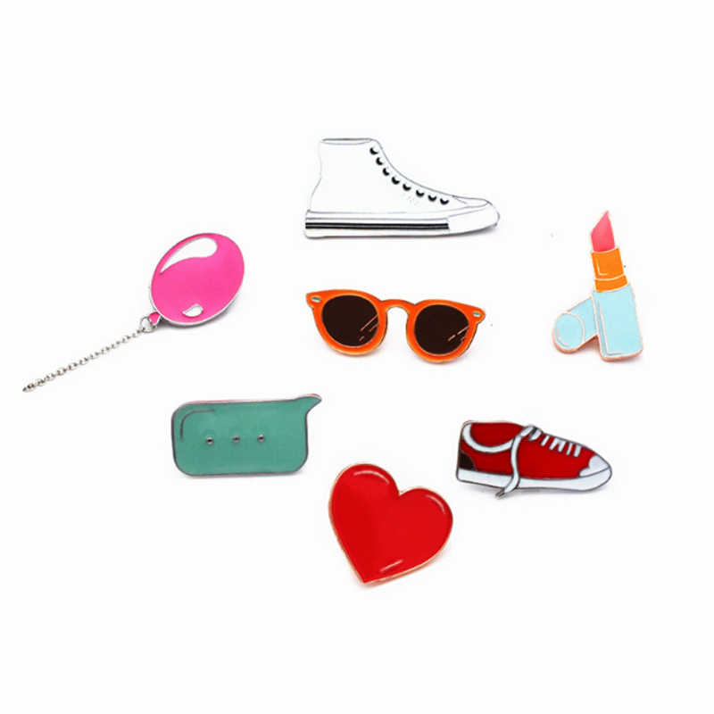 Fashion 1 PC Lucu Balon Lipstik Sepatu Bros untuk Wanita Kain Kreatif Lencana Segar Pin T-shirt Mantel Jerwelry