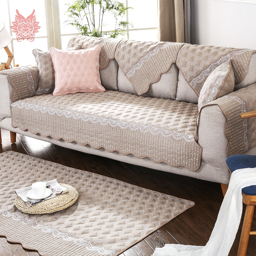 Green grey pink white plaid lace embroidery cotton quilted sofa cover slipcovers canape couch chair furniture covers sp5091 in sofa cover from home garden