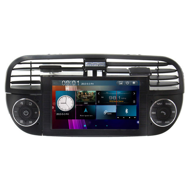 Black White Touch Screen Car Stereo GPS Navigation system for Fiat 500 2007-2013 with RadioSteering wheel CANBUS free Map
