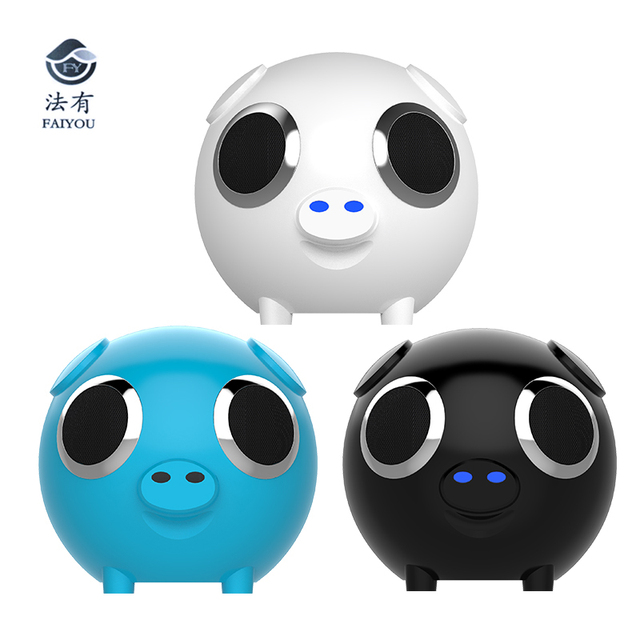 Multifunction 2 in 1 Cute Pig Animal Shape Bluetooth Wireless Speaker Portable Power Bank Loudspeaker FM Radio for Gift