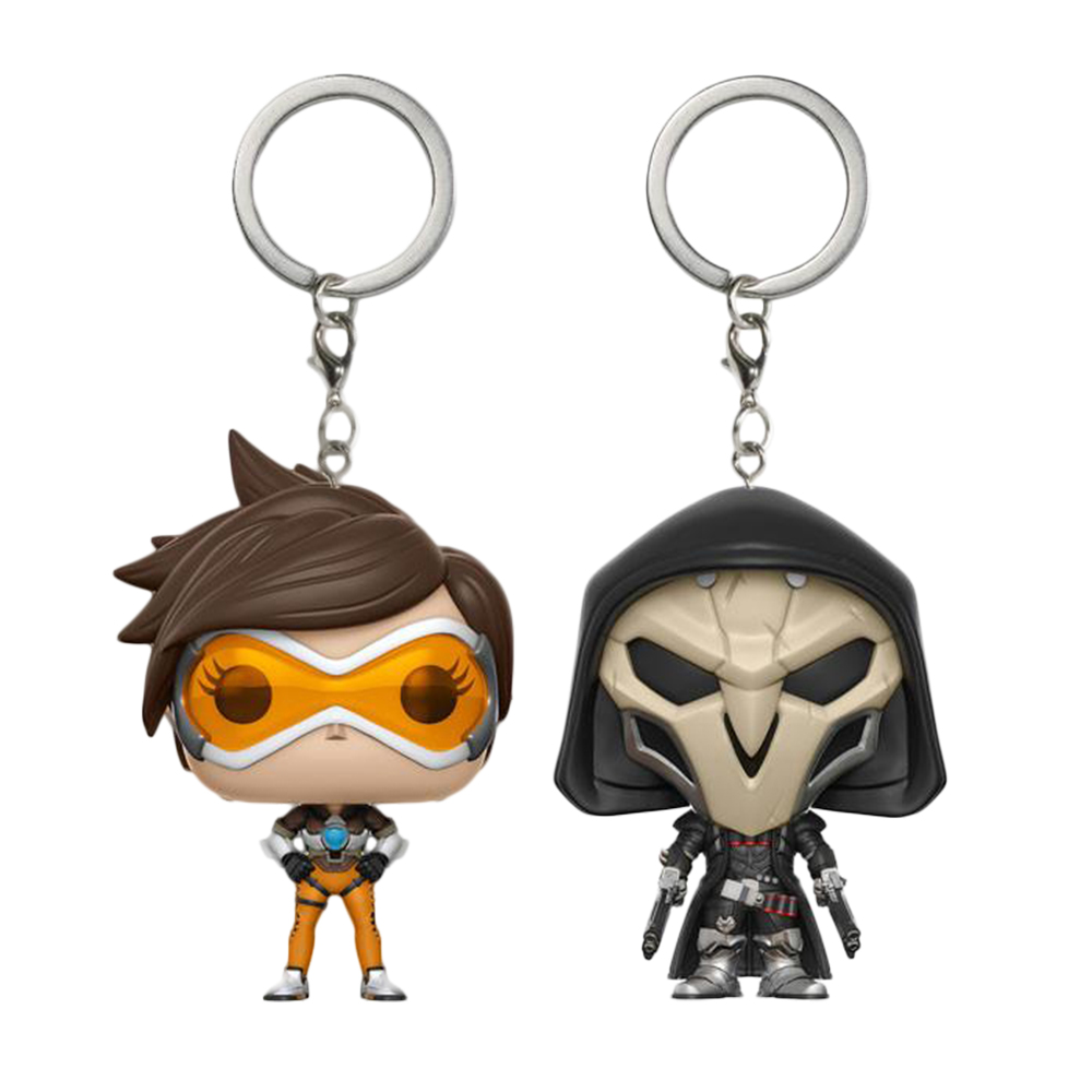 Hot Games Overwatch Key Chain Tracer Reaper Pop Keychain Q Version Anime Figures Key Ring Mental Zinc Alloy Car Pendant SP1469