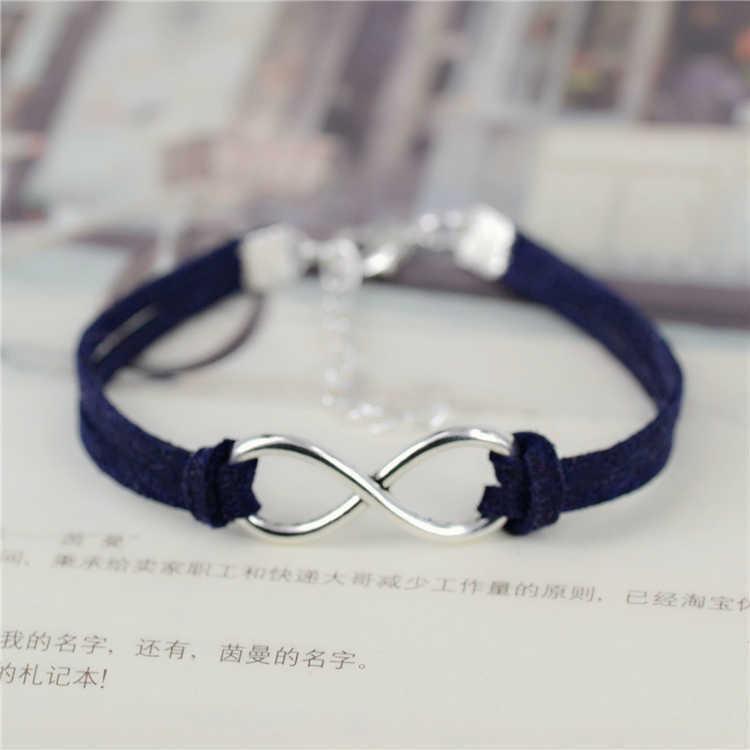 Fashion infinity Rope bracelet Hand woven 15 Color silver Korean Velvet bracelet