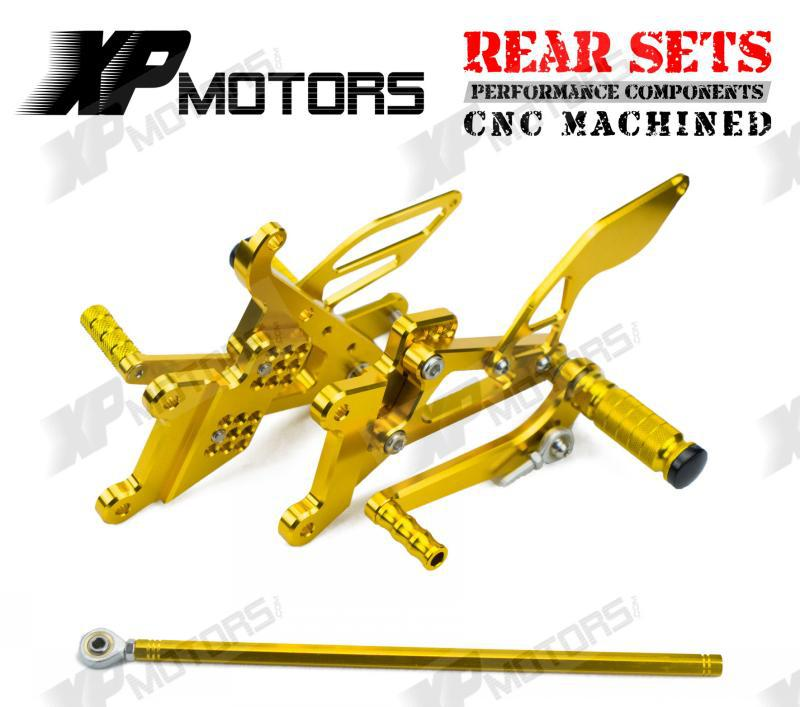 CNC Gold Racing Adjustable Foot pegs Rearset Rear Sets For Yamaha YZF-R6 YZFR6 2003 2004 2005 YZFR6S YZF-R6S 2006 2007 2008 2009 mfs motor motorcycle part front rear brake discs rotor for yamaha yzf r6 2003 2004 2005 yzfr6 03 04 05 gold