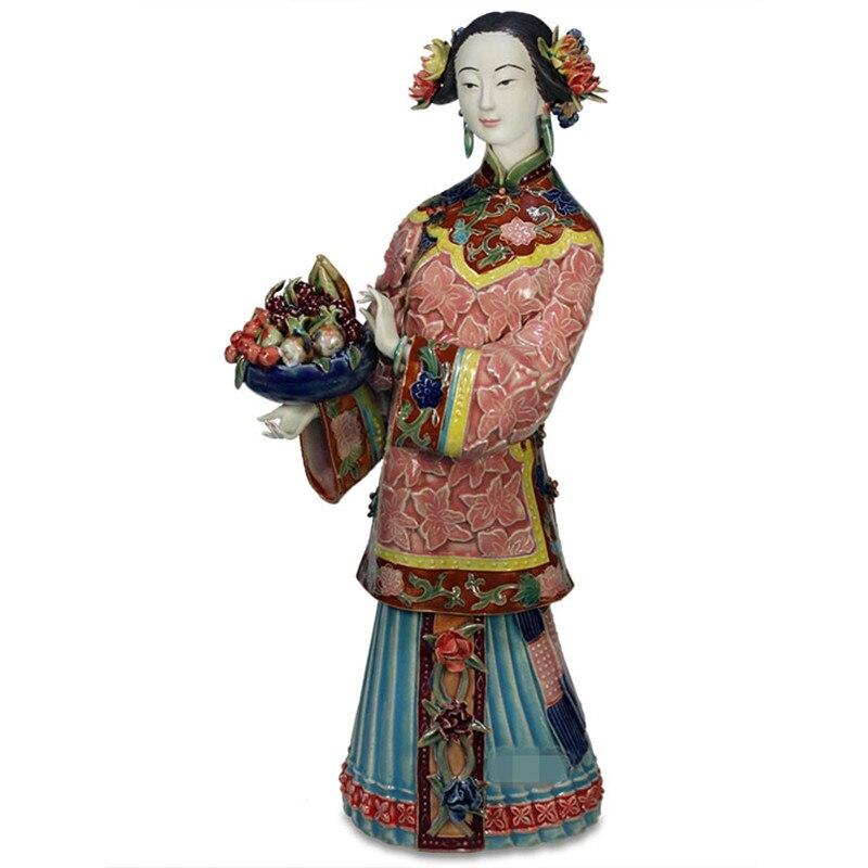 Chinois classique femme porcelaine mode poupées Sculptures décoration créative salle d'étude bureau céramique artisanat X1704