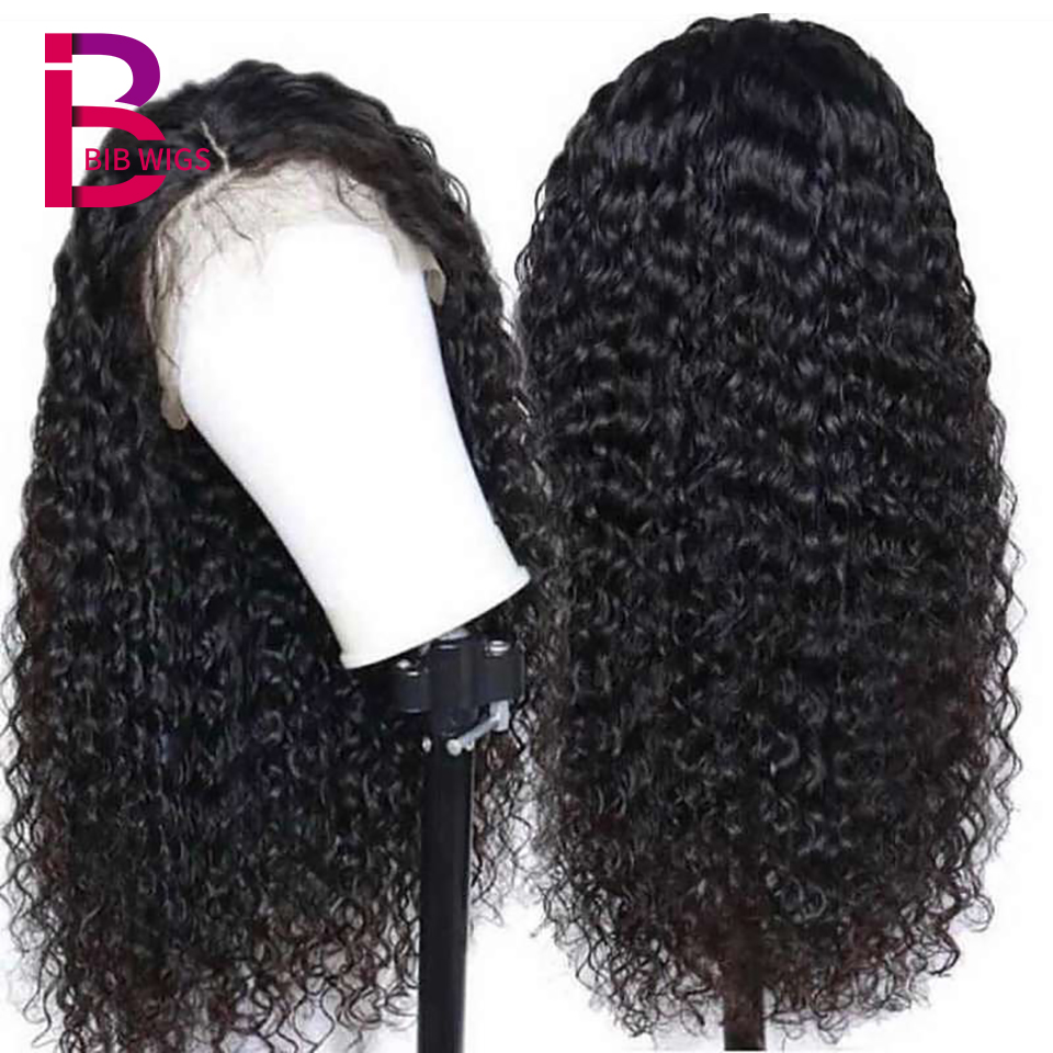 Curly Frontal Wig For Women Black Natural Brazilian Remy Deep Part 13 4 Lace Front Human