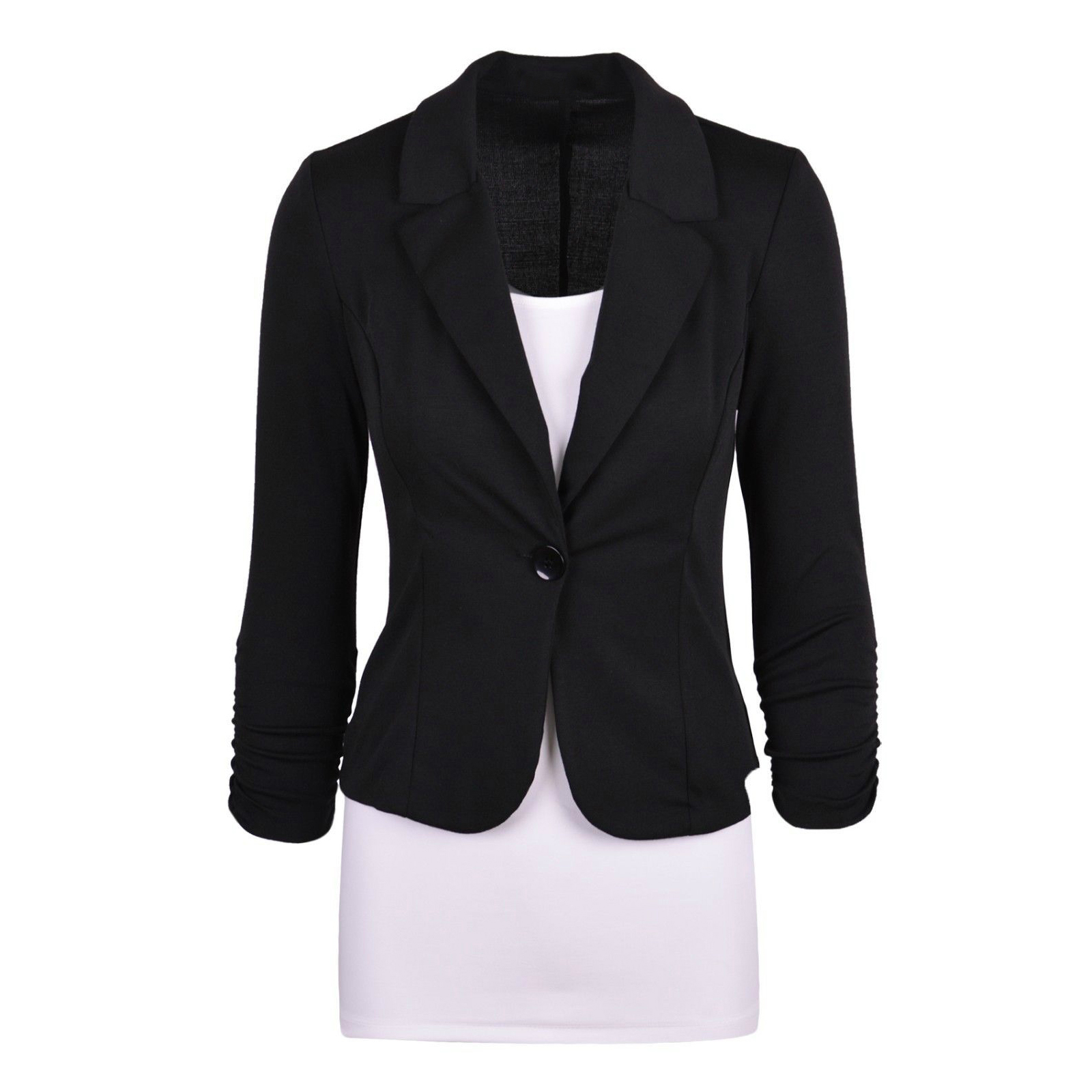 Women's Casual Work Solid Color Knit Blazer Plus Size One Button Jacket