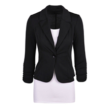 Womens Casual Work Solid Color Knit Blazer Plus Size One button Jacket
