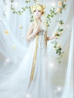New Clothes Pretty Soldier Sailor Moon Cosplay Costume Queen Beautiful White Wedding Dresses+Free ShippingF