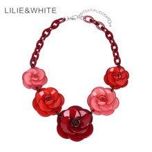 Mujeres de la manera muchachas de las señoras de acrílico flor collar joyería del partido declaración choker collar babero collar