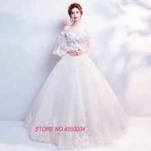 Appliques Beading Flare Sleeve White Princess upscale Weddings dresses 2018  new Women s elegant long gown party proms brides 9cee88251e00