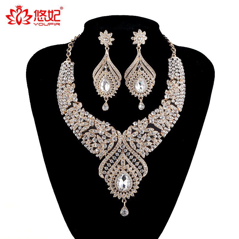 Statement India style Necklace earrings sets Bridal wedding Party Necklace Water Drop Type Golden Plated Crystal Jewelry Sets fashionable foot style gold plated crystal inlaid necklace golden