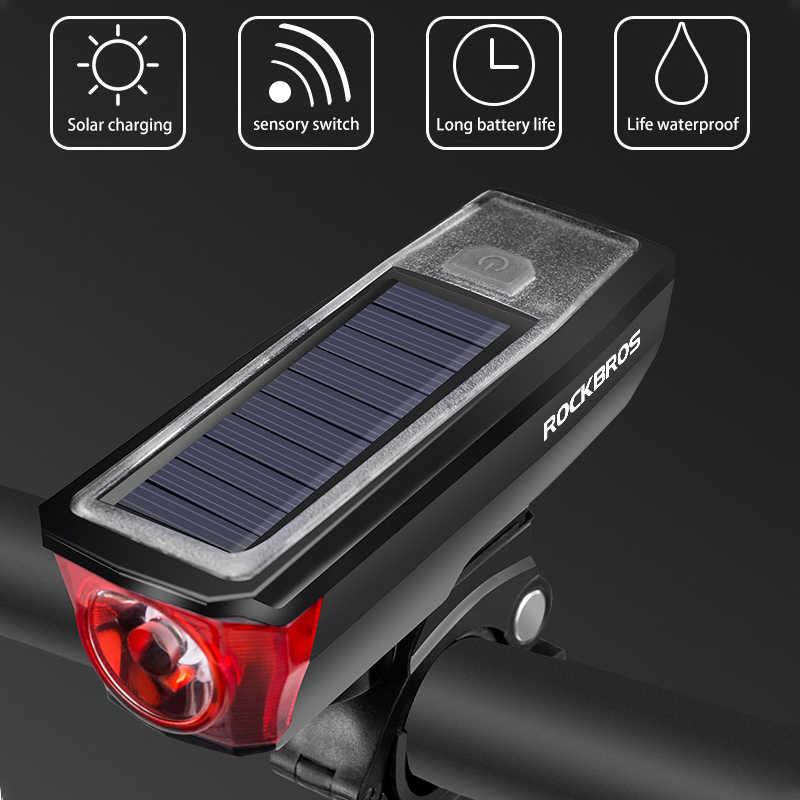 Anteriore della bicicletta Fari di Luce USB di Ricarica Solare Luminoso Eccellente Montagne Della Bici Della Strada di Guida Torcia Elettrica Campana 120 DB Smart Switch