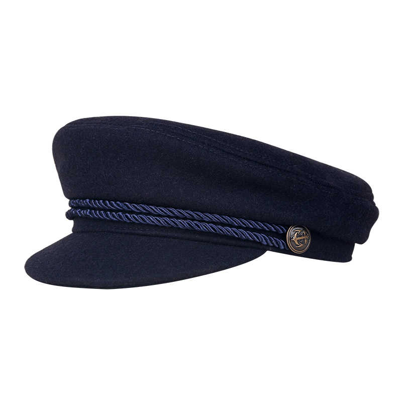 26f3900f3 2018 New Fashion Sailor Ship Boat Captain Military Hats Peaked Cap Black  Baseball Caps Flat Hat for Women Bere Wool Hats E3579