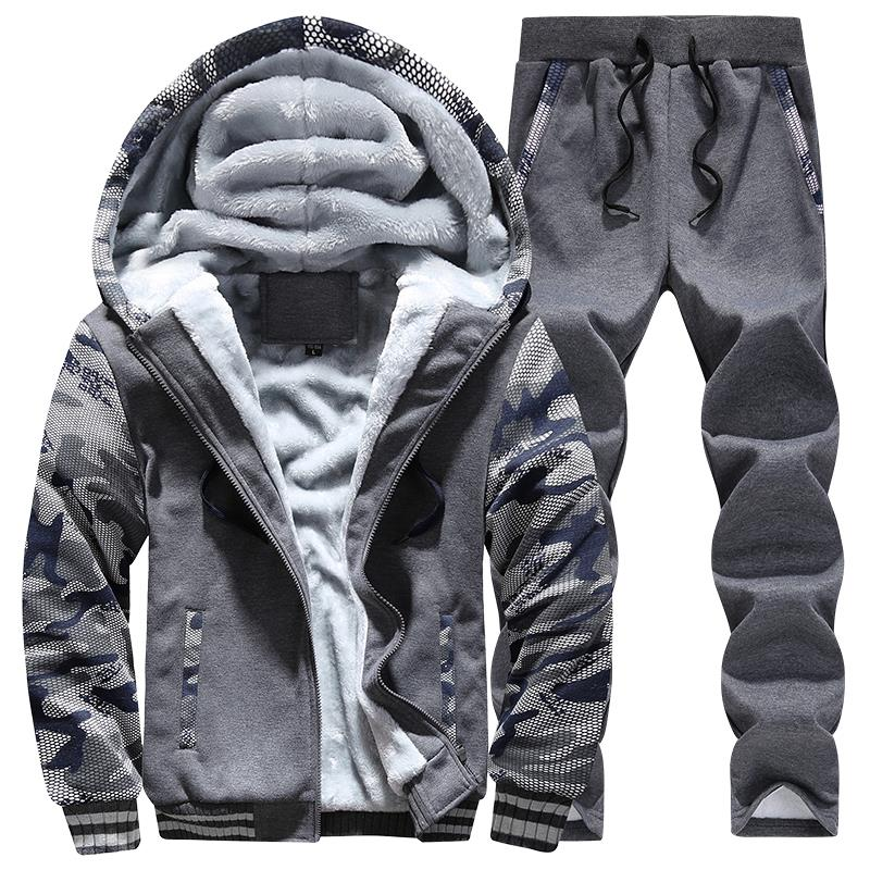 Men Tracksuit Camouflage Print Fleece Lined Thick Warm Hooded Set Winter Patchwork Jacket Mens Sweatshirt Pants Jogger Suit 2Pcs