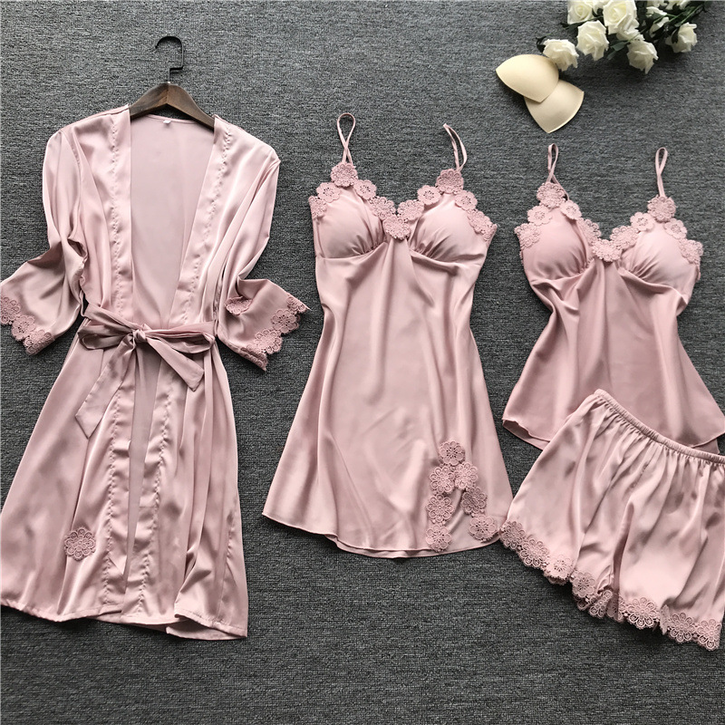 Summer 2019 Women   Pajama     Sets   4 Pcs Pyjamas Women Sexy Lace Satin Sleepwear Elegant Silk Pijama With Chest Pads Nightwear