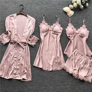Image 2 - Yaz 2019 kadın Pijama setleri 4 adet Pijama kadın seksi dantel saten Pijama zarif ipek Pijama göğüs yastıkları ile kıyafeti