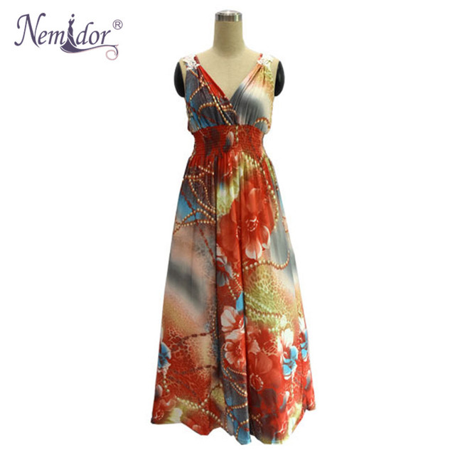 Women Casual V-neck Patchwork Print Stretchy Dress Loose Sleeveless Plus Size 6XL 7XL Maxi Dress 2