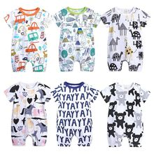 bf6b2ca39 2019 Baby Onesies Summer Cotton Romper Boys Girls 0-24 Months Kids Clothes  Knitted Cartoon