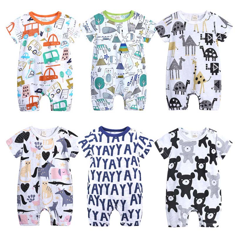 2019 Baby Onesies Summer Cotton   Romper   Boys Girls 0-24 Months Kids Clothes Knitted Cartoon Short-sleeved Jumpsuit Outfits