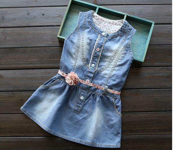 7d6d913ab8 New Arrival Baby Girls Denim Dresses Girls Sleeveless Denim Dress Girls  Summer Dress With Floral Belt