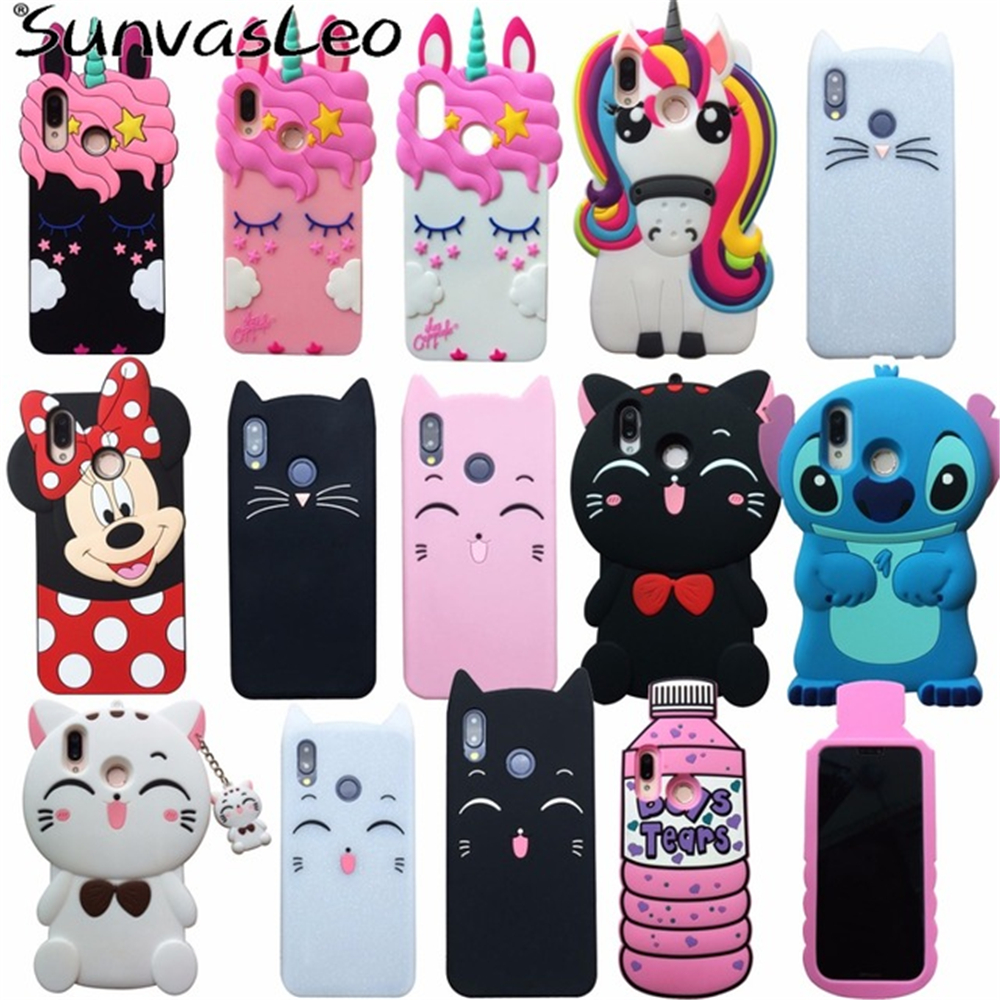 più economico 5ea62 4ff5c US $3.99 15% OFF|For Huawei P20 Lite Case 3D Cartoon Cute Unicorn Stitch  Cat Soft Silicone Back Cover For Huawei P20 Pro P20 Phone Cases Fundas-in  ...