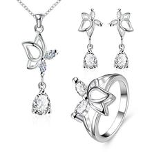 S016-C Fashion popular silver plated jewelry sets for sale
