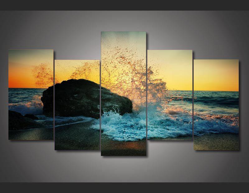HD Printed Beach Surf Reef Painting On Canvas Room