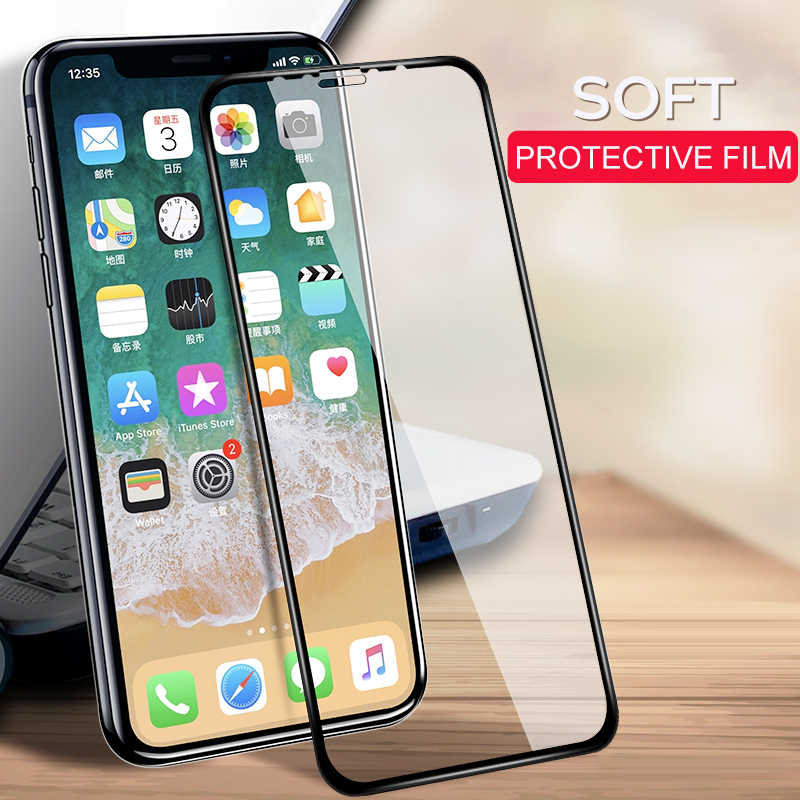 Soft PET Ceramic Film For iPhone XS MAX XR X 8 7 6 6S Plus Full Cover Screen Protector Protective 3D Film ( Not Glass )