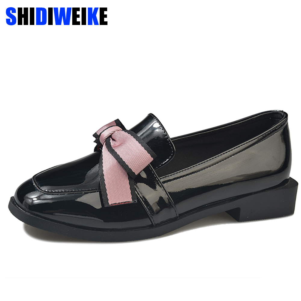 2019 Spring Flats Women Shoes Bow-tie Loafers Patent Leather Elegant Low Heels Slip On Footwear Female Thick Heel n5852019 Spring Flats Women Shoes Bow-tie Loafers Patent Leather Elegant Low Heels Slip On Footwear Female Thick Heel n585