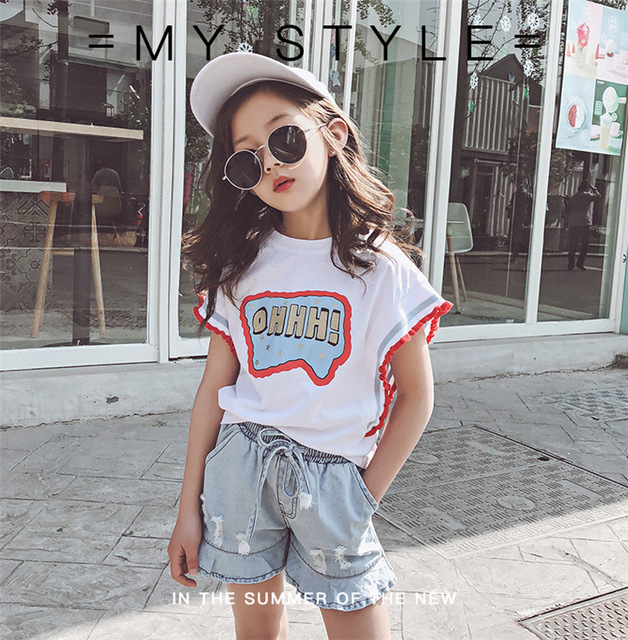 Baby Girl Clothes Sets Summer Sets 2Pcs Cotton T-shirt + Denim Shorts two pieces sets Sport Suit Ruffles Jean Pants baby clothes