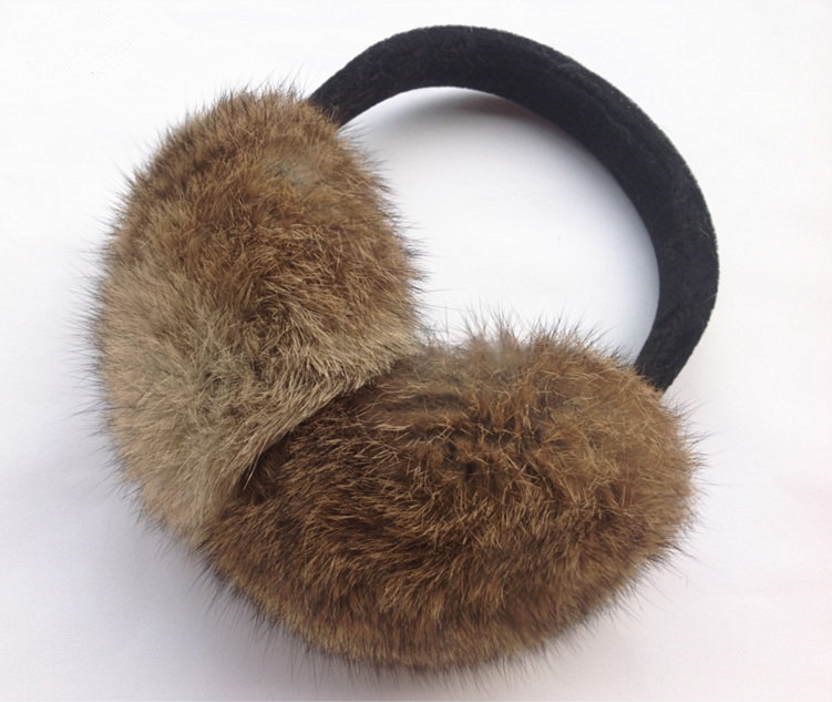 Women Ear Muffs Autumn Winter Genuine Rabbit Fur Black Gray White Brown Female Ear Warmer Unadjustable Earmuff M201