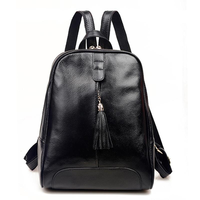 Style Simple couleurs solides en cuir véritable femmes sacs à dos gland en cuir sac à bandoulière mochila feminina fermeture à glissière 32*24 CM