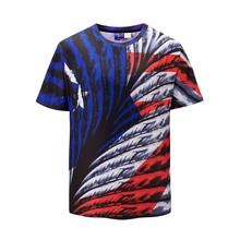 19SS Summer short sleeve stripe harajuku men tshirt Blue Red Contrast color streetwear hip hop shirt