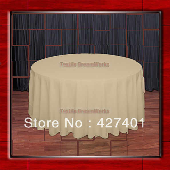 Hot Sale 108R Camel 210GSM Polyester plain Table Cloth For Wedding Events & Party Decoration(Factory Direct Sales)