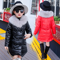 teenage girls winter cotton-padded jacket outerwear fashion child winter medium-long PU wadded jacket child cotton-padded jacket